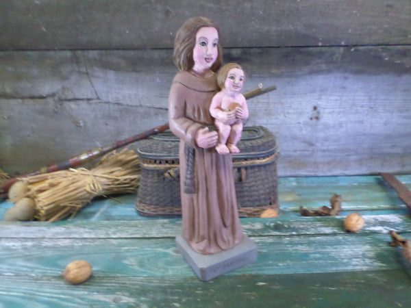 Religious wooden Statue Sainte Marine signed YL front4