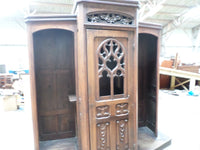 French Antique Religious Church Gothic Confessional 1800s