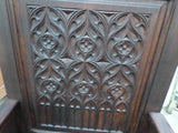 French Antique Cathedre or Cathedral Chair Gothic style closeup 5