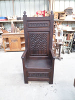 French Antique Gothic Cathedre or Cathedral chair circa 1850