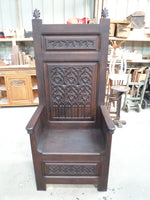 French Antique Cathedre or Cathedral Chair Gothic style front 2