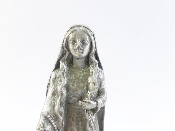 Vintage French Pewter Statue of a long Hair Christian Virgin Martyrdom