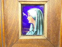 Limoges enamel Miniature signed A. Deshors Hand Painted on copper with wood frame t48 Free Shipping