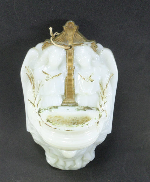 Antique French Opaline Holy Water Font v650