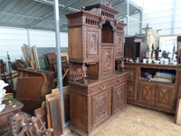 French Breton Antique Cupboard double-corps Cabinet circa 1900