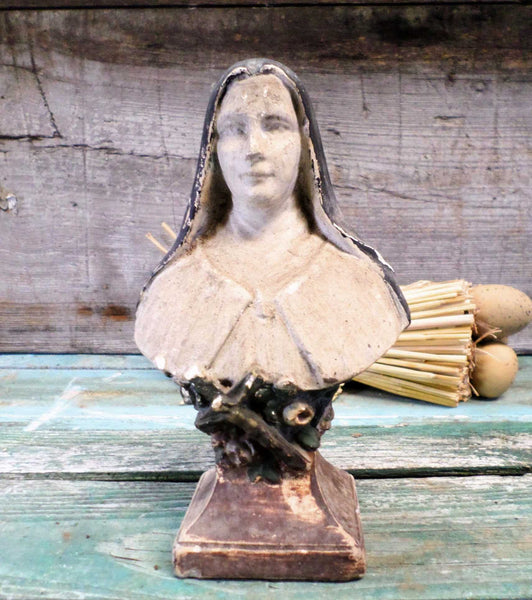 French Antique Chalk Bust Statue Sainte Therese de Lisieux