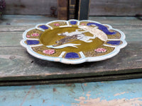 Vintage French Barbotine Majolica Joan Of Arc Plate side