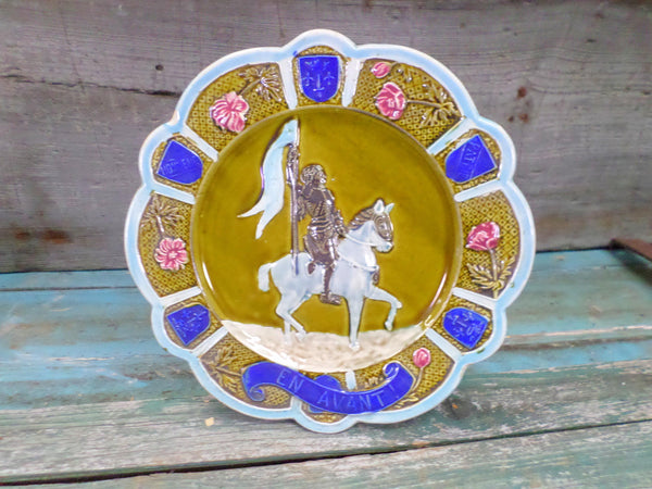 Vintage French Barbotine Majolica Joan Of Arc Plate front
