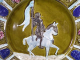 Vintage French Barbotine Majolica Joan Of Arc Plate closeup front