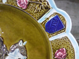 Vintage French Barbotine Majolica Joan Of Arc Plate closeup 3