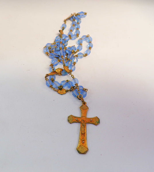 Vintage French Blue Glass Rosary Pendant Necklace r68