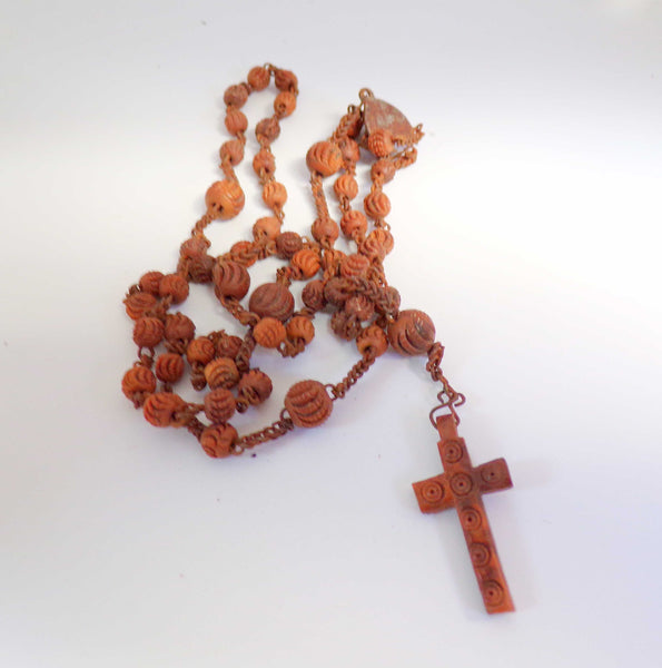 Vintage French Carved Wood Rosary Pendant Necklace