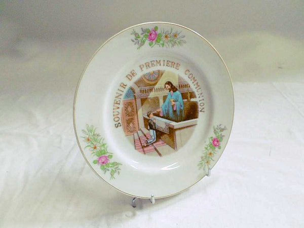 Vintage French Porcelain First Communion Hand Made Plate