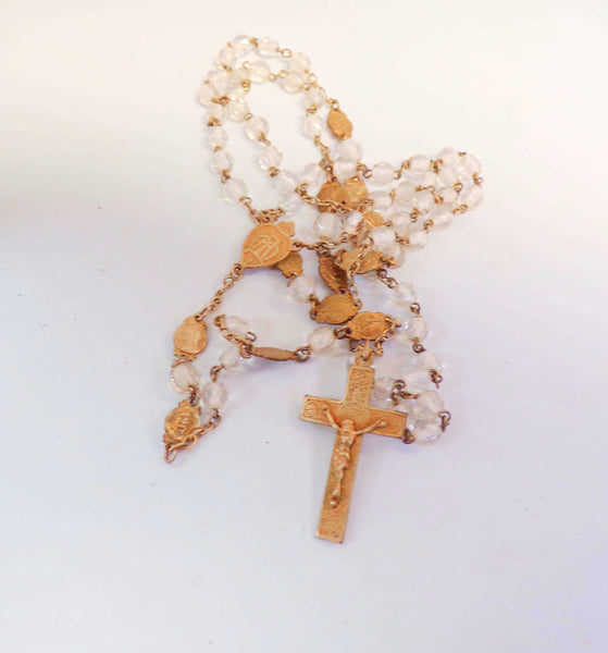 Vintage French Translucent Glass Rosary Pendant Necklace