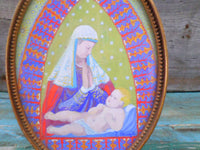 Vintage Religious Painting Gouache Mary with Baby Jesus front closeup