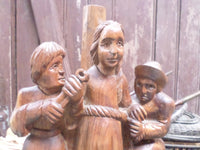 Wooden Sculpture Joan Of Arc at the Stake closeup 4