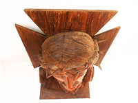 French Vintage Carved Olive Wood Bust of Christ top