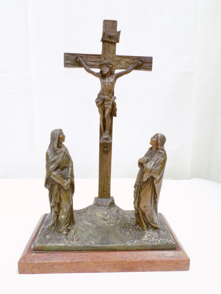 Antique Bronze Statue Calvary Crucifixion Group front