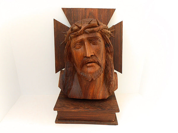 French Vintage Carved Olive Wood Bust of Christ 1098