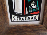 Religious Abbey Monk's Tile Wisques Abbey Hand Made Saint Frederic v651 Free Shipping