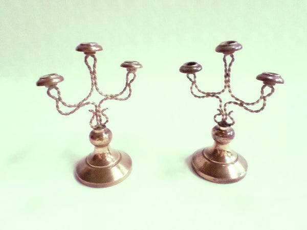 Pair of French Antique Religious Dollhouse Candelabras chandelier circa 1890 v659 Free Shipping