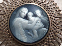 French Religious Medallion Mary and baby jesus from Raphael v523 Free Shipping