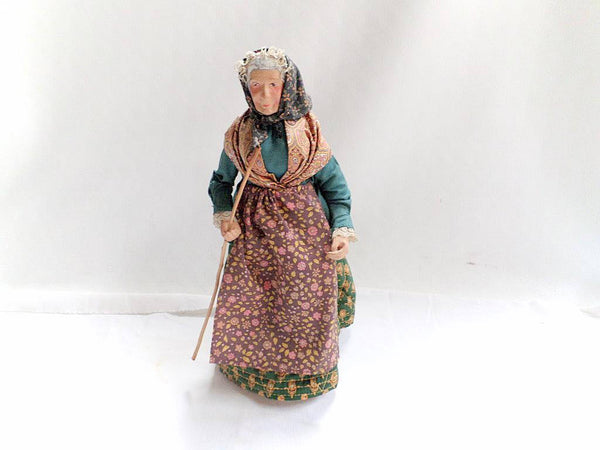 Vintage French Santon Provence Old Lady with a walking stick