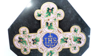 French Antique Pink and Blue Enamel Cloisonne champleve with Black marble Crucifix Maison Alphonse Giroux circa 1880 t25