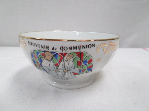 Vintage French Porcelain Communion Café au Lait Bowl (w928)