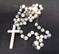 Vintage French Mother Of Pearl Rosary Pendant Necklace