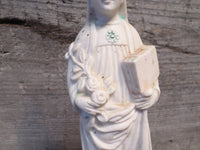 French Antique Saint Bibien / Saint Vivien Bishop Porcelain Bisque Biscuit Statue r40 Free Shipping