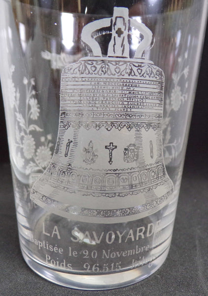 Souvenir Sacre-Coeur Paris and La Savoyarde Bell installed in 1895 Crystal Glass engraved