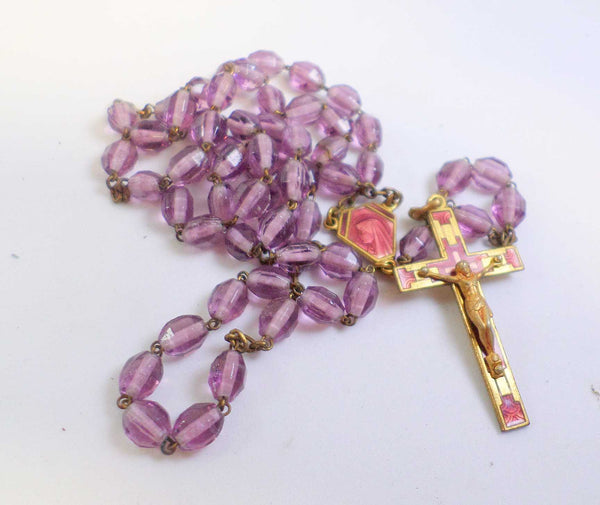 Vintage French Pink Purple Glass Rosary Pendant Necklace