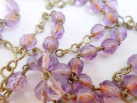 Vintage French Purple Glass Rosary Pendant Necklace