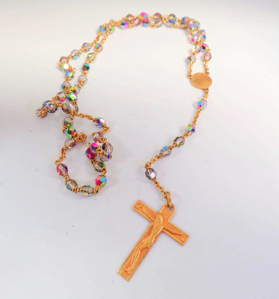 Vintage French Multicolor Glass Rosary Pendant Necklace