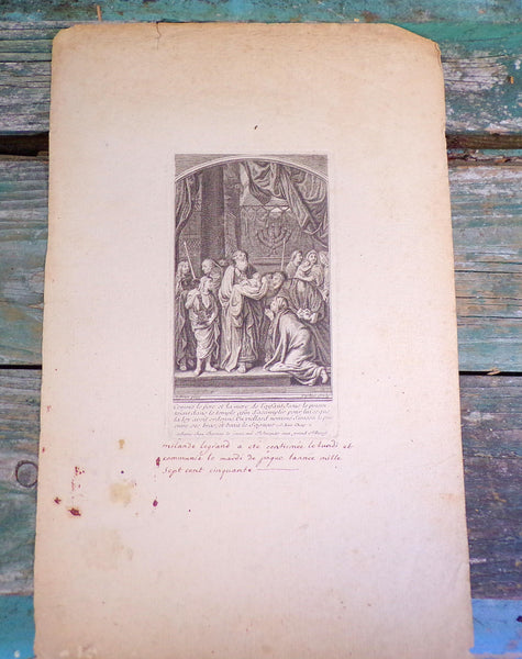 Origininal Etching for the confirmation of Milande Legrand dated Easter 1750