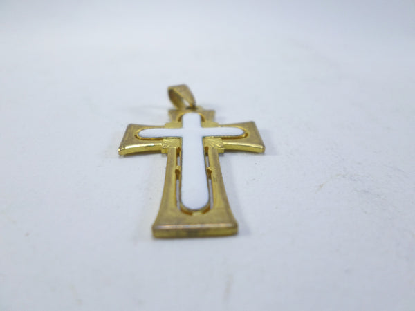 Vintage Gold plated and enamel Cross Crucifix pendant t279