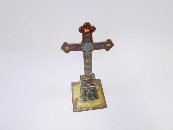 French Antique Enamel Cloisonne Champleve Crucifix