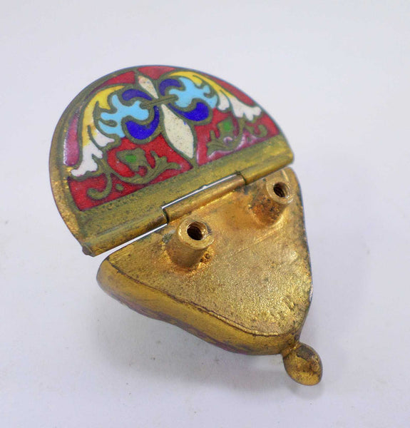 Antique French Enamel Cloisonne Miniature Holy Water Font t385 Free Shipping