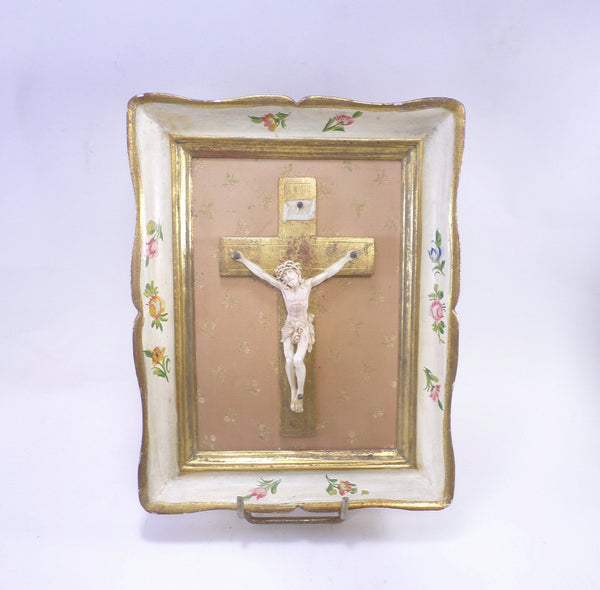 Magnificent French Antique Florentine Gilt Crucifix Framed early XXe t387