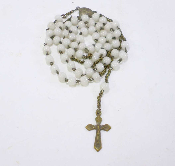 Vintage French White Glass Rosary Pendant Necklace