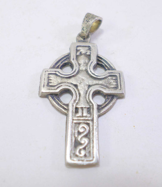 Vintage Silver Plated Celtic Cross Crucifix Pendant