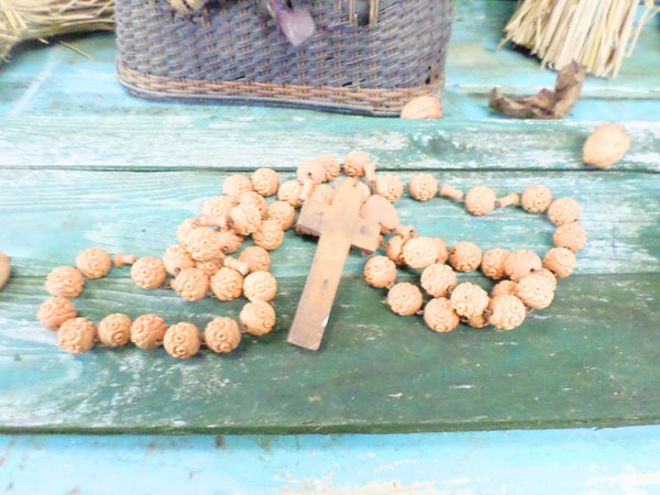 French Wooden Pilgrim Rosary Pendant Necklace