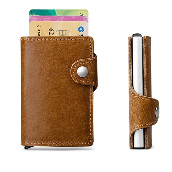 Smart Wallet - Genuine Leather Anti Theft RFID Blocking
