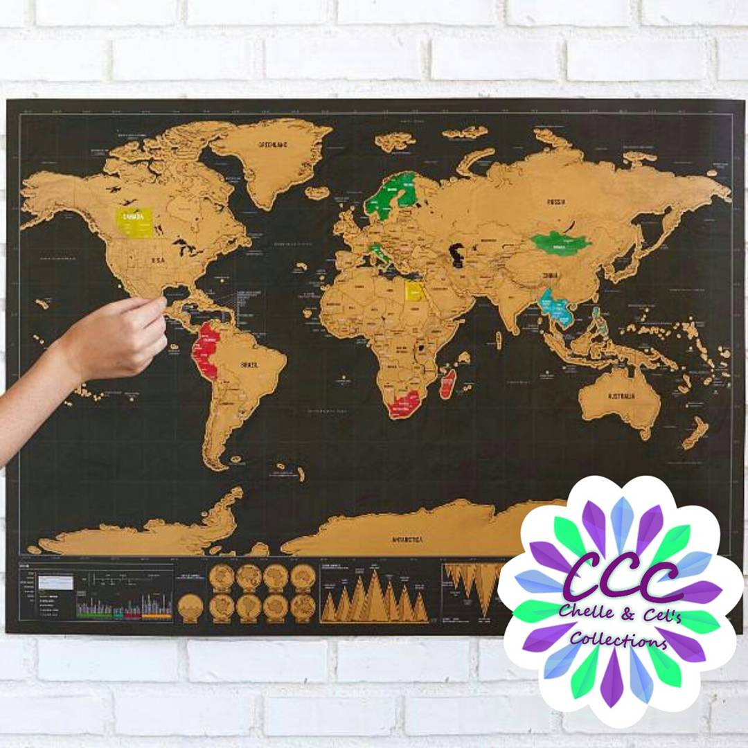 Deluxe scratch off world map travel around the world chelle deluxe scratch off world map travel around the world gumiabroncs Images