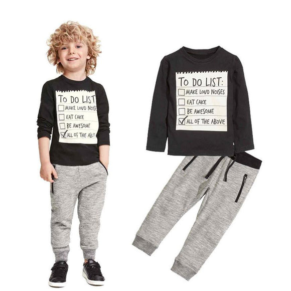 1 Set Kids Toddler Boys Handsome Black Blouse + Gray Casual Pants Letter Sports