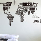 Map Of The World Decal Art Mural Home Decor Wall Stickers