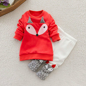 Fox Long Sleeve Sweatshirt Top + Pants Outfits Set Clothes