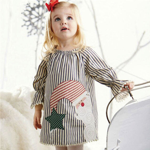 Christmas Santa Claus Kids Baby Girls Clothes Tops Striped Princess Dress