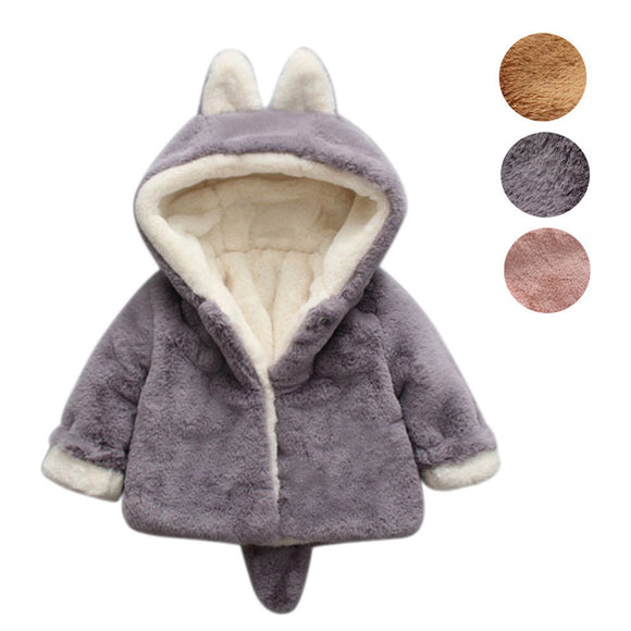 Hooded Cloak Jacket Thick Clothes Warm Coat Infant Velvet Outerwear Coats